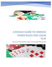 A rough Guide to Various poker rules and Game play