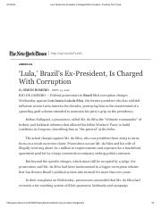 'Lula,' Brazil's Ex-President, Is Charged With Corruption - The New York Times.pdf