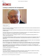 A study in enterprise risk management (Business Times 23 April 2015)