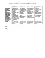 Rubric for field experience journal.doc