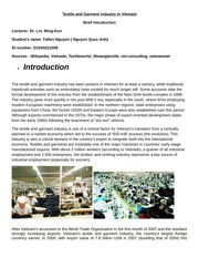 Textile and Garment industry In Vietnam