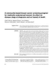 A Community Based Breast Cancer Screening Program For Medically Underserved Women Its Effect On Dise