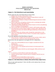 Money & Banking - Review Questions Final Exam S14