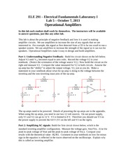 ELE 291 – Electrical Fundamentals Laboratory I Lab 5