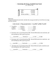 Chapter 1 calculating energy from foods (1)