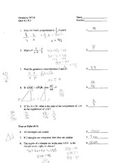 Geometry 218 - Quiz8.1-8.3 with Answers