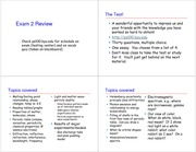 Exam 2 Review Winter 2011