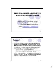 Chapter 1a - Financial issues & incentives in organizations