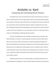 aristotle and kant The organism as the judgment of god: aristotle, kant and deleuze on nature (that is, on biology, theology and politics) john protevi department of french studies.
