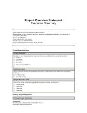 Project Overview Statement               Executive Summary.docx