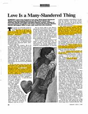 Love Is a Many-Slandered Thing (optional)