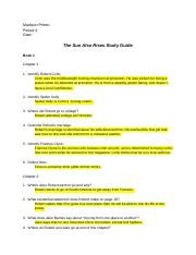 sun also rises study guide