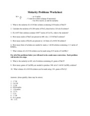 molarity-and-dilution-worksheets - Molarity Problems Worksheet M ...