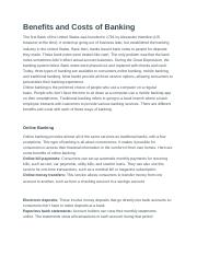 Benefits and Costs of Banking.docx