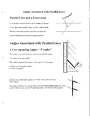 Math 2201 Angles and Parallel Lines Notes