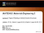 Lecture 02 - Bonding and crystal structure