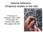 08 - Presentation #6 - Natural Selection in action - part 1 for Jan 16