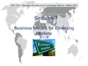 NBA 5911. Winter 2014. Session 7. Business Models for Emerging Markets