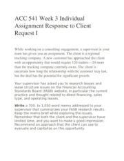 ACC 541 Week 3 Individual Assignment Response to Client Request I
