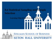Lesson 8.6 Statistical Sampling and Sample Selection