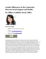 social support and health