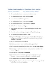 Geo1100 Final Exam Review Questions – Steve Roecker