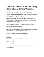 Linear Equations- Solutions Using Elimination with Two Variables