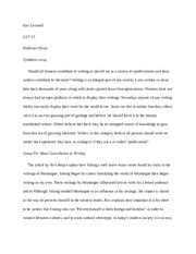 Synthesis Essay First 3 Paragraphs