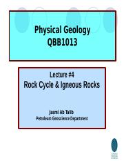 Lecture#4 Rock cycle and igneous rocks