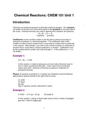 CHEM 151 Reaction Handout