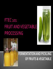 Fermentation and Pickling of Fruits and vegetables