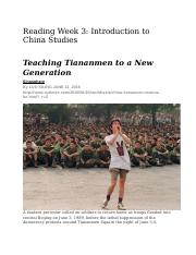 Reading Week 3 Introduction to China Studies Teaching Tiananmen to a New Generation.docx