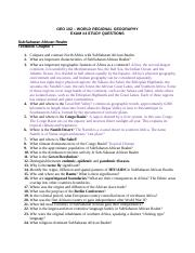 GEO_102_Exam__4_Study Questions North African Southwest Asian & SubSaharan African Realms.doc