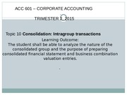 ACC601- Consolidation Intragroup transactions