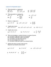 MATH 9 Exponent Laws Worksheet Solutions