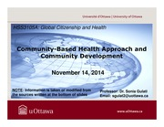 LECTURE 10 - Community-Based Health Approach and Community Development
