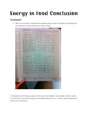 Energy in Foods Conclusion (1)