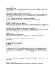 Cell Biology Exam 1 Study Guide