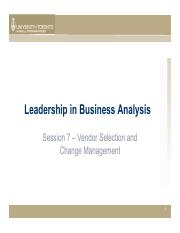 Session 8 LBA - Vendor Selection and Change Management