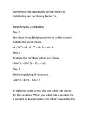 Algebraic Expressions - Simplifying Expressions notes.rtf
