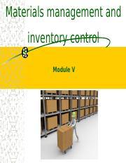 PnOM Module V - Materials Management and Inventory Control.pptx
