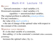 Lecture 10 on Linear Programming
