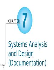 AIS - Chapter 7b - Systems Analysis and Design (Documentation) - Student