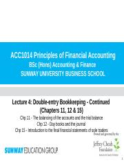 Lecture 4 (Chp 11, 12 &  15) - Double-entry bookkeeping(1)