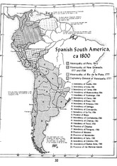 Spanish South America 1800 Map