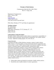Principles of PR Syllabus Fall 2013