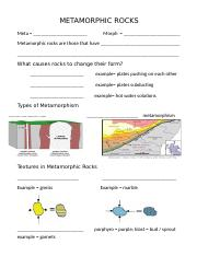METAMORPHIC ROCKS - student
