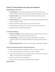 Chapter 12 Notes, Demand Planning, Forecasting MGMT