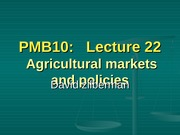 22 - Agricultural Markets and Policies
