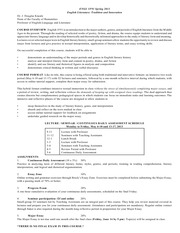 Class Note Course Format ENGL 1F91 SPRING 2013